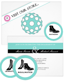 Party invitations in Tiffany Blue and black