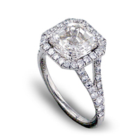 Diamond split shank pave engagement ring and halo setting