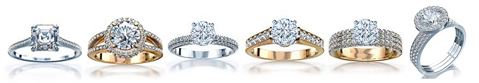 Different gold and platinum pave diamond engagement rings