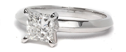 Princess cut prong set engagement ring in white gold