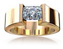 Yellow gold tension set diamond engagement ring