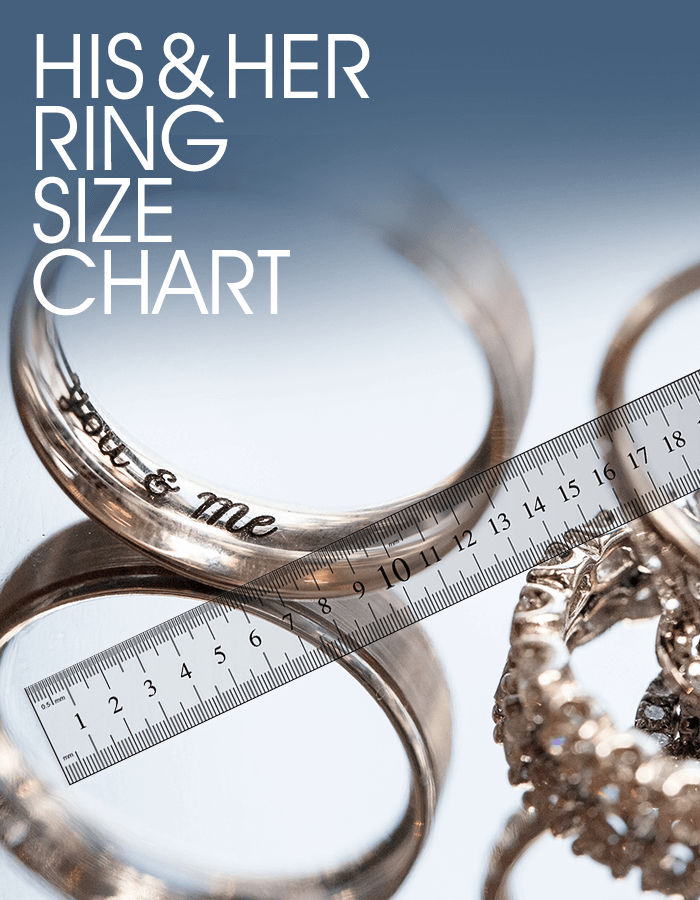Wedding bands and engagement ring with ruler