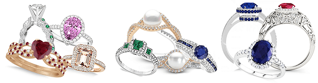 Different gemstone and birthstone rings in different color metals