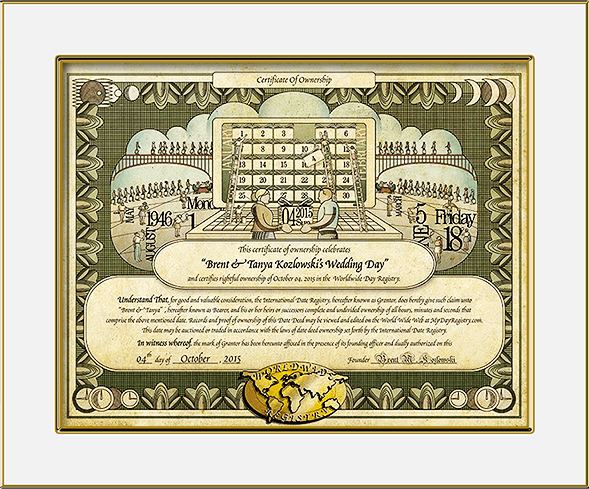 Wedding day dedication certificate gift idea