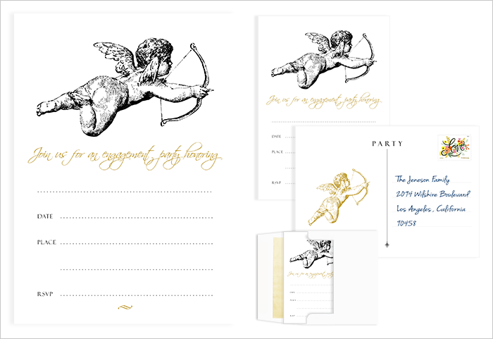 A cherub adorns this engagement party invitation with gold accents