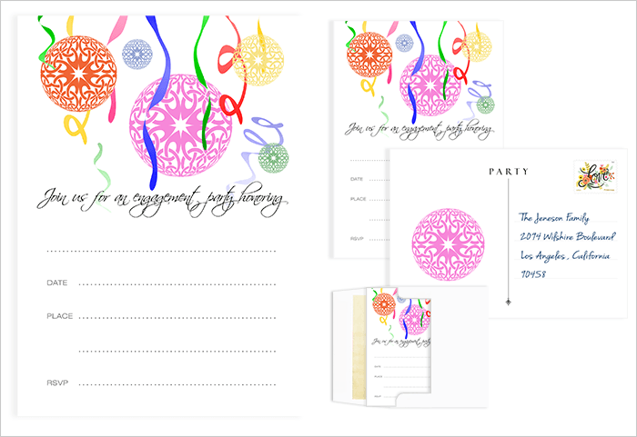 Engagement party invitation with colorful lanterns and streamers, can be used as a postcard or with an envelope