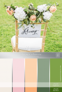A wedding chair with floral decorations in peach and white and a sign on the back that says 'Always'.