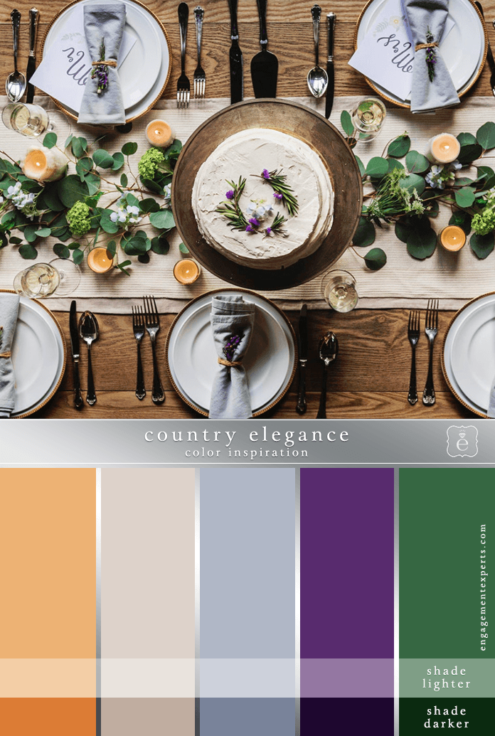 Wedding place setting in purples, peaches, green and beige