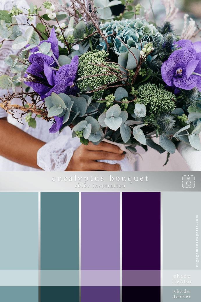Color scheme - eucalyptus and orchid bouquet