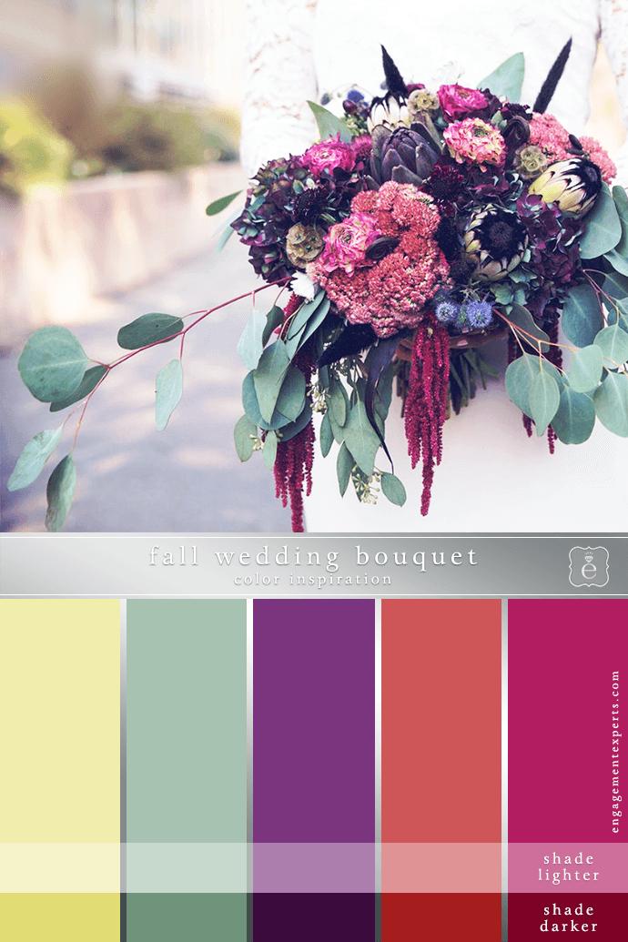 A fall bouquet sets a jewel tone color scheme