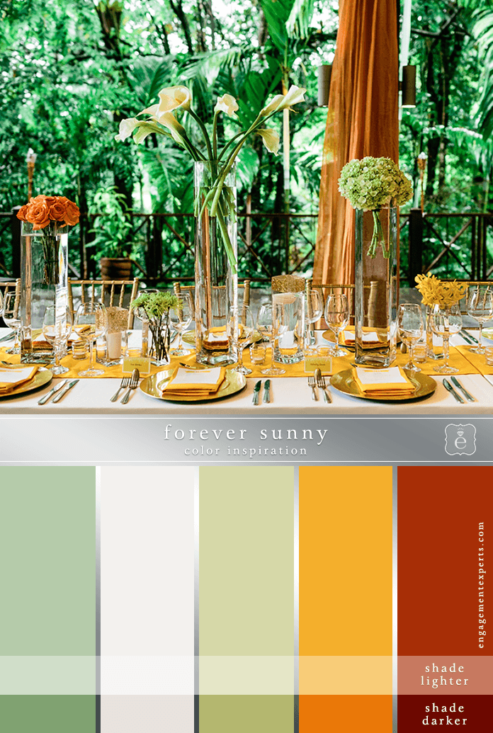 bright yellow wedding place setting, with oranges and greens
