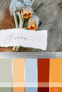 A boutonniere in pale blue and peach with the word 'groom' on a piece of paper.