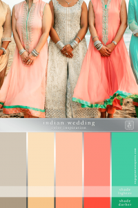 Peach and taupe colored wedding party dresses with green accents