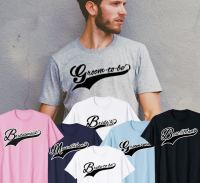 Guy wearing a Groom to be T shirt surrounded by mother of the bride, maid of honor, father of the bride and best man t-shirts.