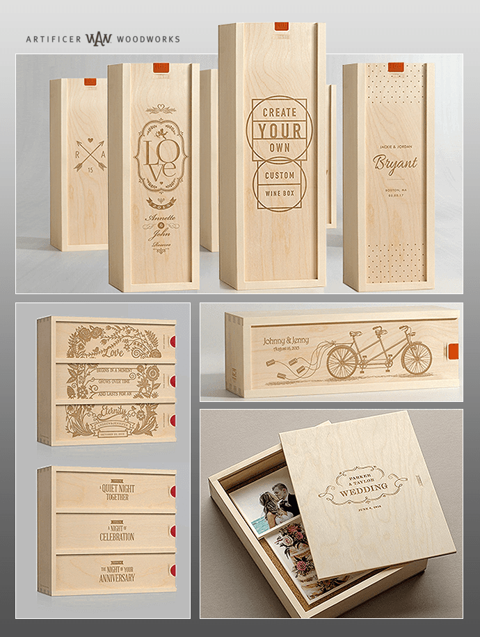 personalized artisan wooden wine boxes and keepsake box