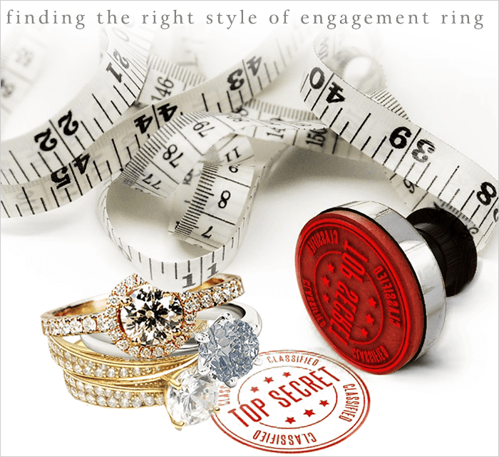 A measuring tape, a top secret stamp and different style engagement rings