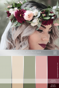 A rich toned bridal flower crown or headpiece in burgundy, pink, and white with grey-green foliage accents.