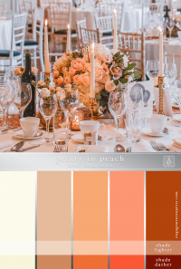 A monochromatic wedding tablescape in different shades of peach.