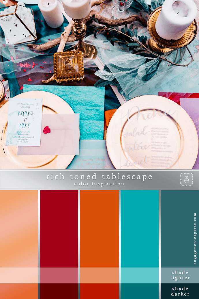 Rich Tone Placesetting in oranges and turquoise