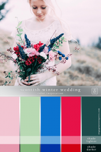 An ashen bride with a bouquet of bold colors set against the Scottish highlands