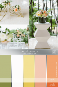 Pastel oranges, yellows, greens wedding flowers and decorations