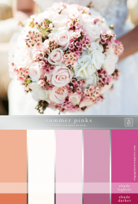 Bridal bouquet in pinks, peaches and whites