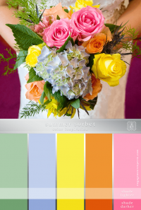 Wedding bouquet of pink, peach and yellow roses with light purple and green hydrangea