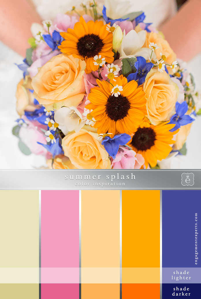 A summer wedding bouqet of orange, blue and pink flowers.